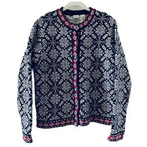 LL BEAN Fair Isle Nordic Sweater Medium Cardigan